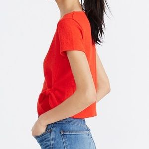 Madewell 100% COTTON Wrap Tie Top Red Blouse XXS